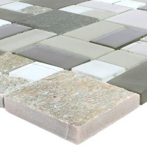 Mosaic Tiles Apollo Natural Stone Glassmix Brown White