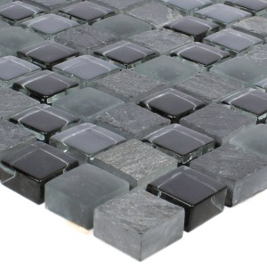 Mosaic Tiles Marble Java Glassmix Apollo Black 15