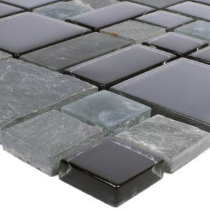 Mosaic Tiles Apollo Natural Stone Glassmix Black