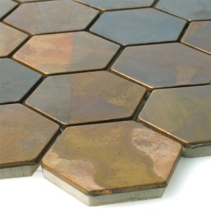 Mosaic Tiles Copper Merkur Hexagon Brown 48