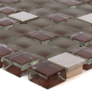 Mosaic Tiles Rotterdam Stainless Steel Glass Mix Brown Silver