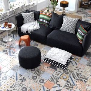 Cement Tiles Retro Optic Gris Floor Tiles 18,6x18,6cm
