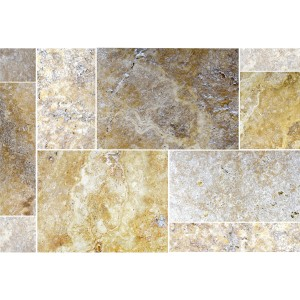 SAMPLE Natural Stone Tiles Travertine Castello Gold Roman Pattern
