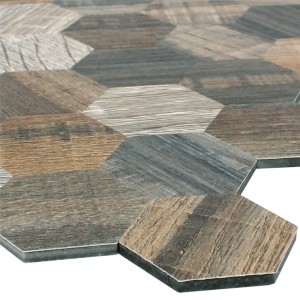 Mosaic Tiles Wood Optic Metal Hexagon Self Adhesive Morelia