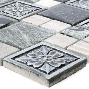 Mosaic Tiles Levanzo Glass Resin Ornament Mix Silver