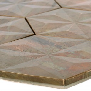 Metal Copper Mosaic Tiles Myron Hexagon 3D