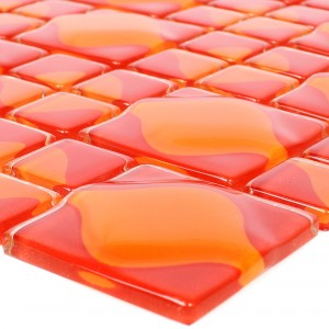 Glass Mosaic Tiles Nokta Red Orange 3D