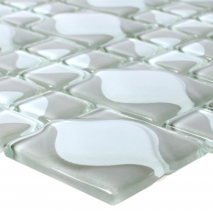 Glass Mosaic Tiles Nokta Grey White 3D