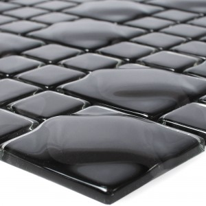 Glass Mosaic Tiles Nokta Black Grey 3D