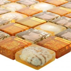 Glass Mosaic Tiles Hermon Shell Orange
