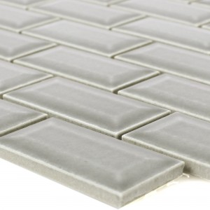 Ceramic Mosaic Metro Facet Picton Light Grey Glossy