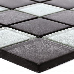 Glass Mosaic Tiles Curlew Black Silver 48