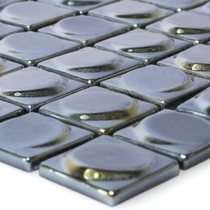 Glass Mosaic Tiles Accra Black 3D Round