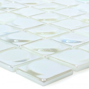 Glass Mosaic Tiles Accra White 3D Round
