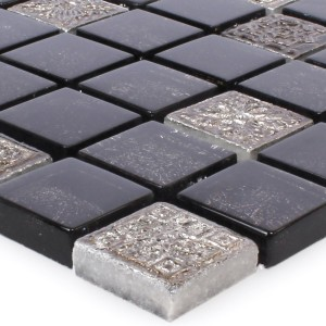 SAMPLE Mosaic Tiles Glass Natural Stone Coloniale Anthracite