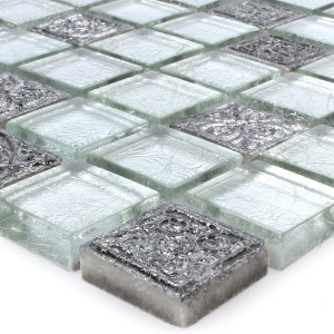 SAMPLE Mosaic Tiles Glass Natural Stone Coloniale Silver