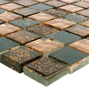 SAMPLE Mosaic Tiles Glass Natural Stone Maya Brown