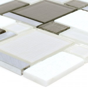 SAMPLE Mosaic Tiles Material Mix Echo White Beige