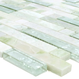 SAMPLE Mosaic Tiles Onyx Larinera Green Gold Pattern