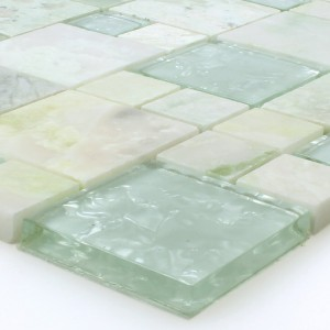 SAMPLE Mosaic Tiles Onyx Larinera Green Gold Mix