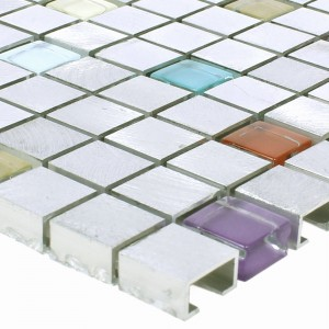 SAMPLE Mosaic Tiles Lissabon Aluminium Glass Mix Colored