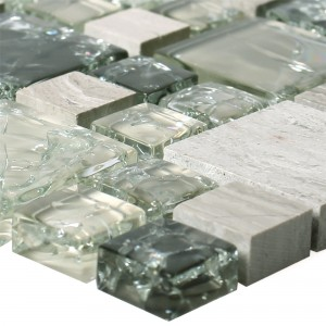 Mosaic Tiles Glass Natural Stone Malawi Green Grey 2 Mix