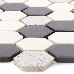 SAMPLE Ceramic Mosaic Tiles Monforte Hexagon Black Grey