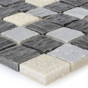 Glass Mosaic Natural Stone Tiles Colicos Grey Black Silver