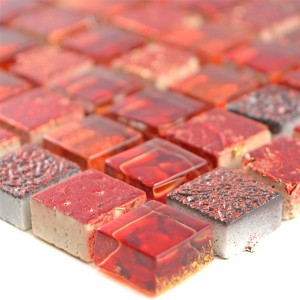 Glass Mosaic Natural Stone Tiles Cleopatra Red