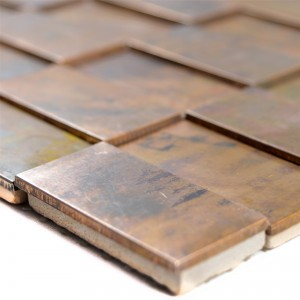 Metal Copper Mosaic Tiles Myron Rectangle 3D