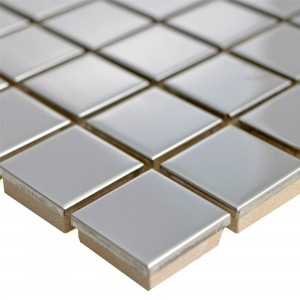 Stainless Steel Mosaic Tiles Magnet Glossy Square 23