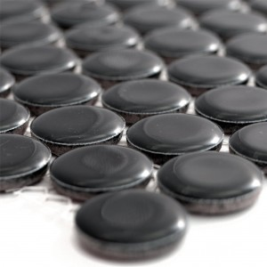 Ceramic Mosaic Tiles Button Yantra Black Glossy