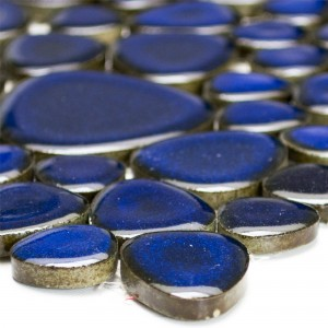 Mosaic Tiles Ceramic Pebble Optic Dark Blue