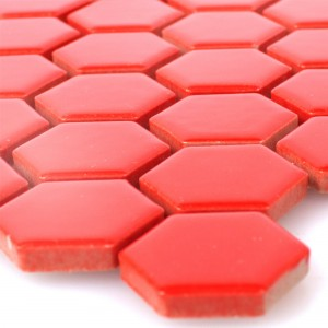 Ceramic Mosaic Tiles Zenon Red Glossy