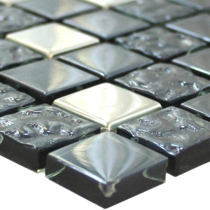 Mosaic Tiles Glass Metal Mix Whitney Silver Black 23
