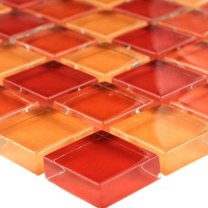 Mosaic Tiles Glass 23x23x8mm Orange Beige