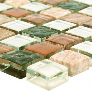 Mosaic Tiles Glass Marble 15x15x8mm Brown Mix Duo