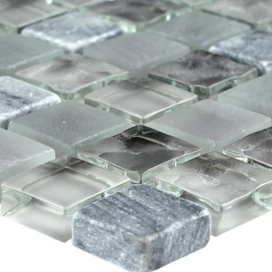Mosaic Tiles Glass Marble Light Grey 15x15x8mm