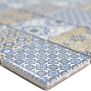 Ceramic Mosaic Tiles Daymion Retro Optic Blue Brown 47