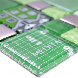 Glass Mosaic Tiles Nemesis Green Silver