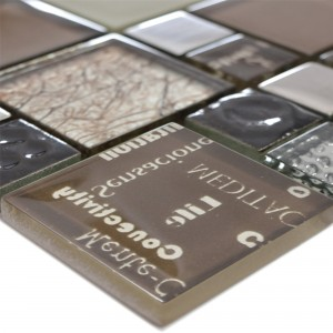 Glass Mosaic Tiles Nemesis Brown Silver