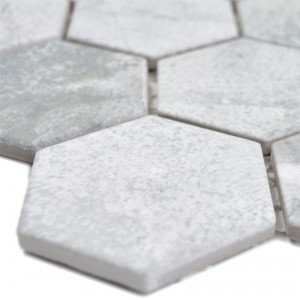 Ceramic Mosaic Comtessa Hexagon Cement Optic Light Grey