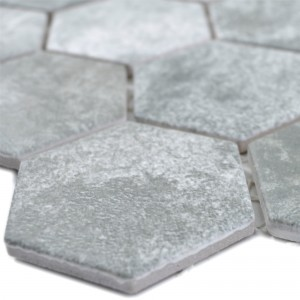 Ceramic Mosaic Comtessa Hexagon Cement Optic Dark Grey