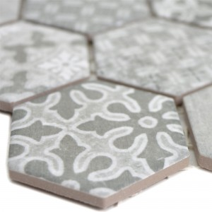 Ceramic Mosaic Retro Tiles Lawinia Hexagon Grey
