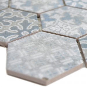 Ceramic Mosaic Retro Tiles Lawinia Hexagon Blue