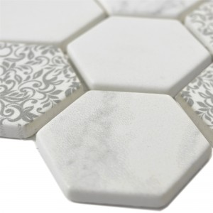 Glass Mosaic Tiles Acapella Carrara Hexagon