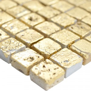 Natural Stone Resin Mosaic Tiles Lucky Gold