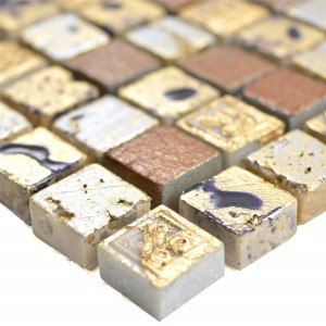 Natural Stone Resin Mosaic Tiles Lucky Gold Bronze