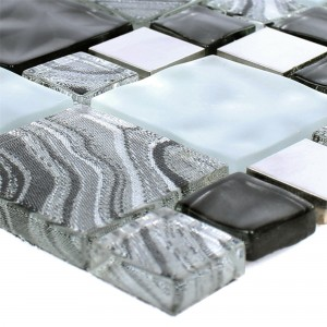 Glas Metall Stainless Steel Mosaic Tiles Zadar Grey Black