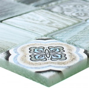SAMPLE Glass Mosaic Tiles Wood Optic Makarska Light Blue